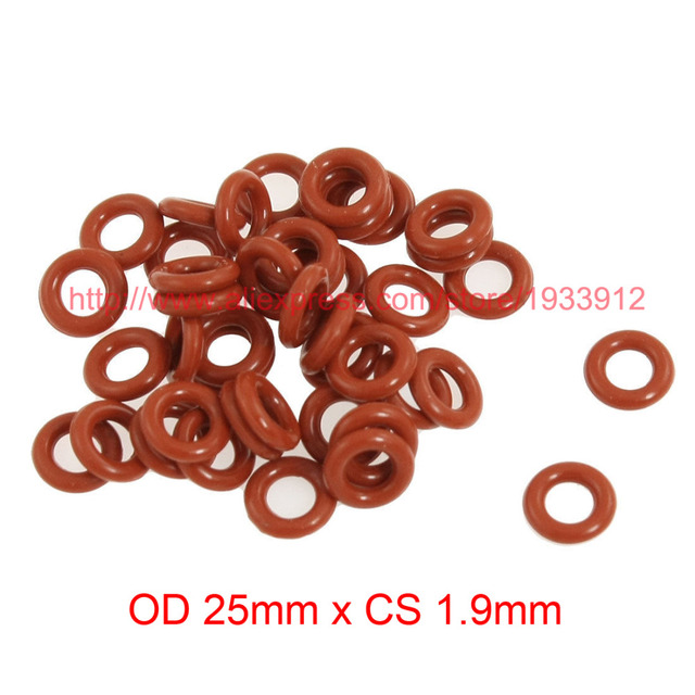 OD 25mm x CS 1.9mm silicone o ring o ring washer seals rubber gasket ...