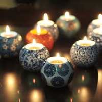 6pcs European Style Ceramic Candle Holders With Candles Wedding Candlestick Tea Light Holder Home Decor