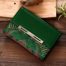 Новое поступление высокого класса женский кошелек 100% Вышивка натурального шелка и натуральная кожа Для женщин Короткие Кошелек Бесплатная доставка YJSN105-1