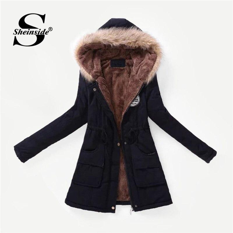 Lange Zwarte Winterjas.Nauttidevils Havingfunn Beste Koop Sheinside Zwarte Winterjas