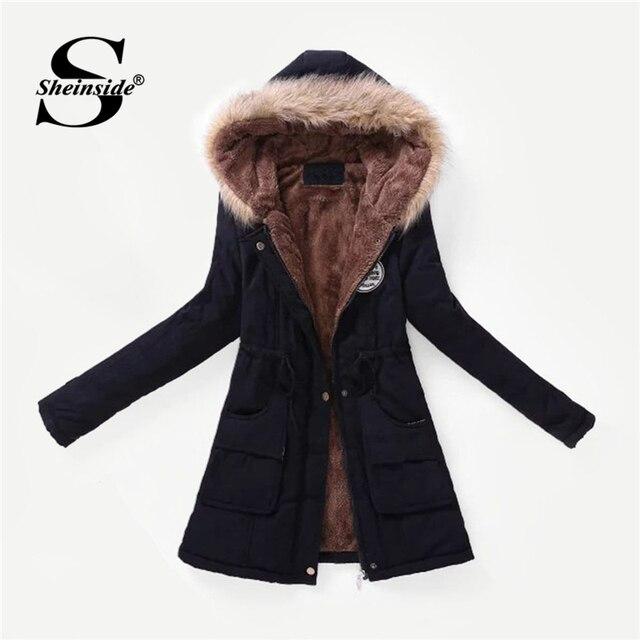 Zwarte Winterjas Dames Lang.Sheinside Zwarte Winterjas Vrouwen Gevoerd Faux Fur Hooded Parka Jas