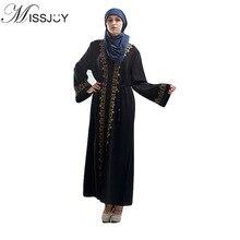 MISSJOY Women Caftan Abaya Dubai Arabian Muslim Party Dresses Cardigan Long Sleeve Kaftan Ropa Arabe Turkish Slam Dress