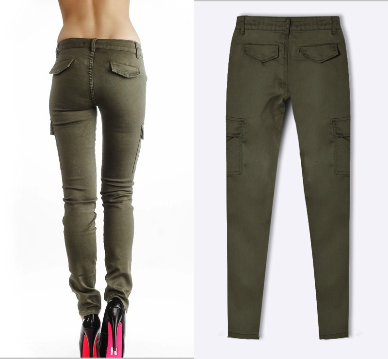 Army Green Jeans Women 7