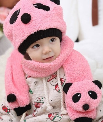 2015 Autumn and winter freeshipping Wool cap with scarf  hat boys and girlspanda design fashion winter cap set zea rtm0911 1 children s panda style super soft autumn winter wear cap scarf set blue