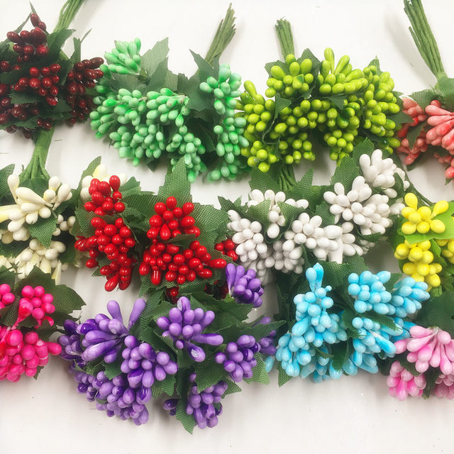 12 PCS/artificial pearl flower bouquets of stamens wedding ...