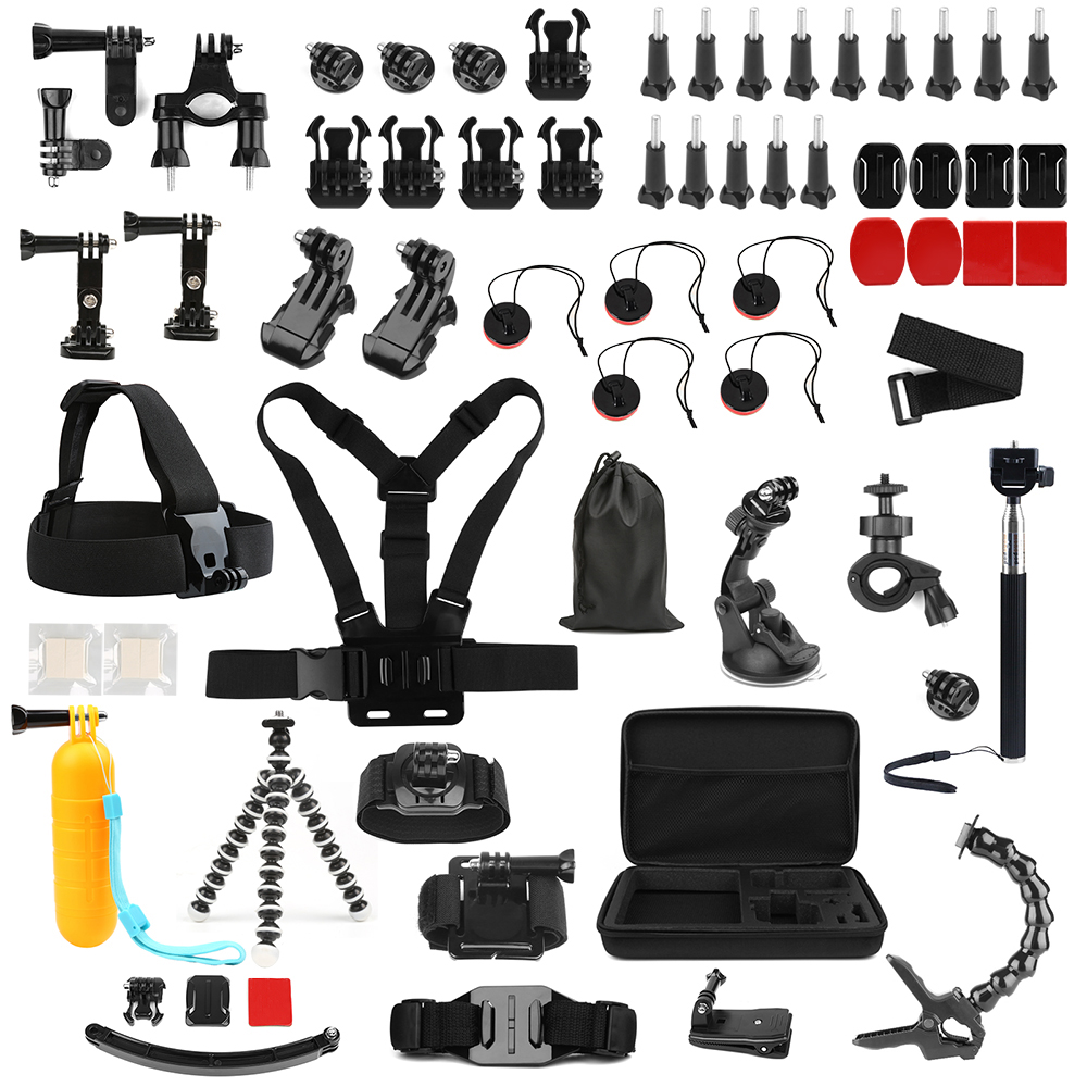 SHOOT for Xiaomi Yi 4K Accessories Set Tripod Monopod Strap Mount for GoPro Hero 6 5 4 3 SJCAM SJ4000 SJ5000 Eken h9 Yi Lite Kit 16in1 gopro accessories set helmet harness chest belt head mount strap monopod for go pro hero 5 4 3 2 1 xiaomi yi action camera