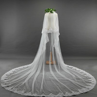 Ivory white long bridal veil with comb cathedral bridal veil wedding long 2 layer veils cathedrals Vail