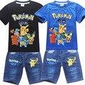 Meninos Terno das crianças Pikachu POKEMON IR Conjunto Roupa de Crianças T-shirt + Shorts Jeans Roupas de Desenhos Animados Terno Dos Esportes Roupas de Verão conjunto