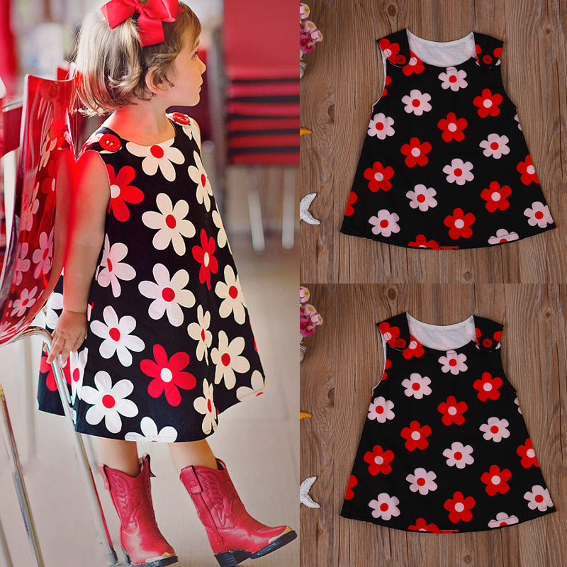 Toddler Kids Baby Girls Floral Summer Dress Pageant Princess Party Beach Dresses