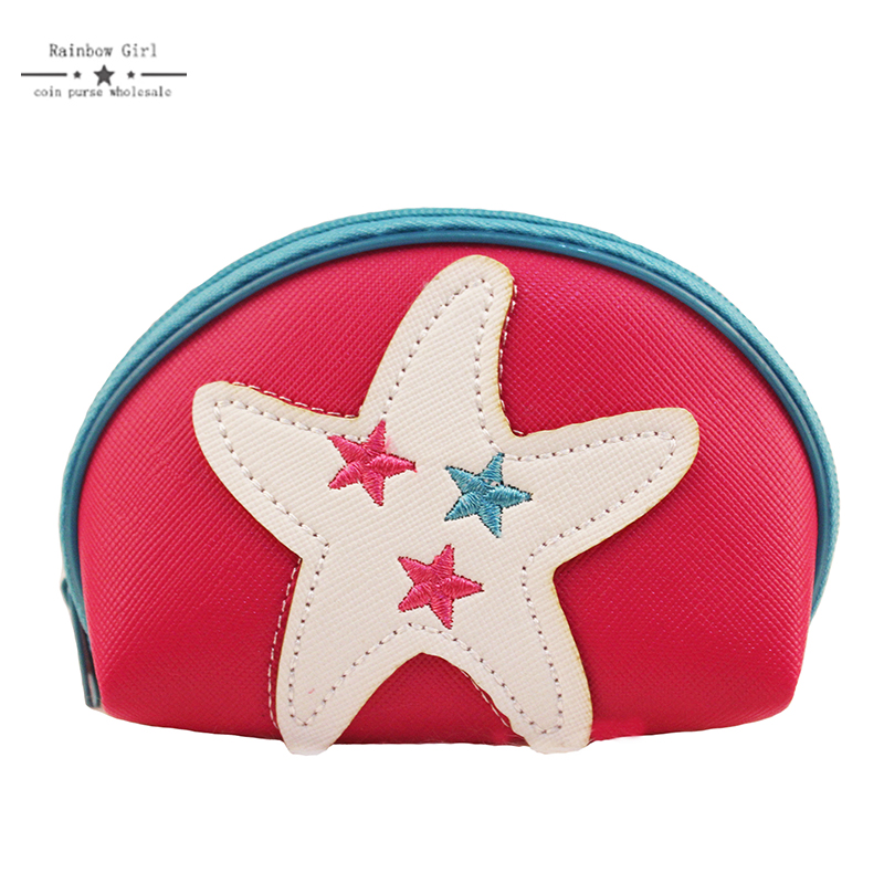 Rainbowgirl Yellow Sea Star Coin Purse 6 Color Purse Small semi-circle Card Holder Best Gift for friends Fashion starfish wallet