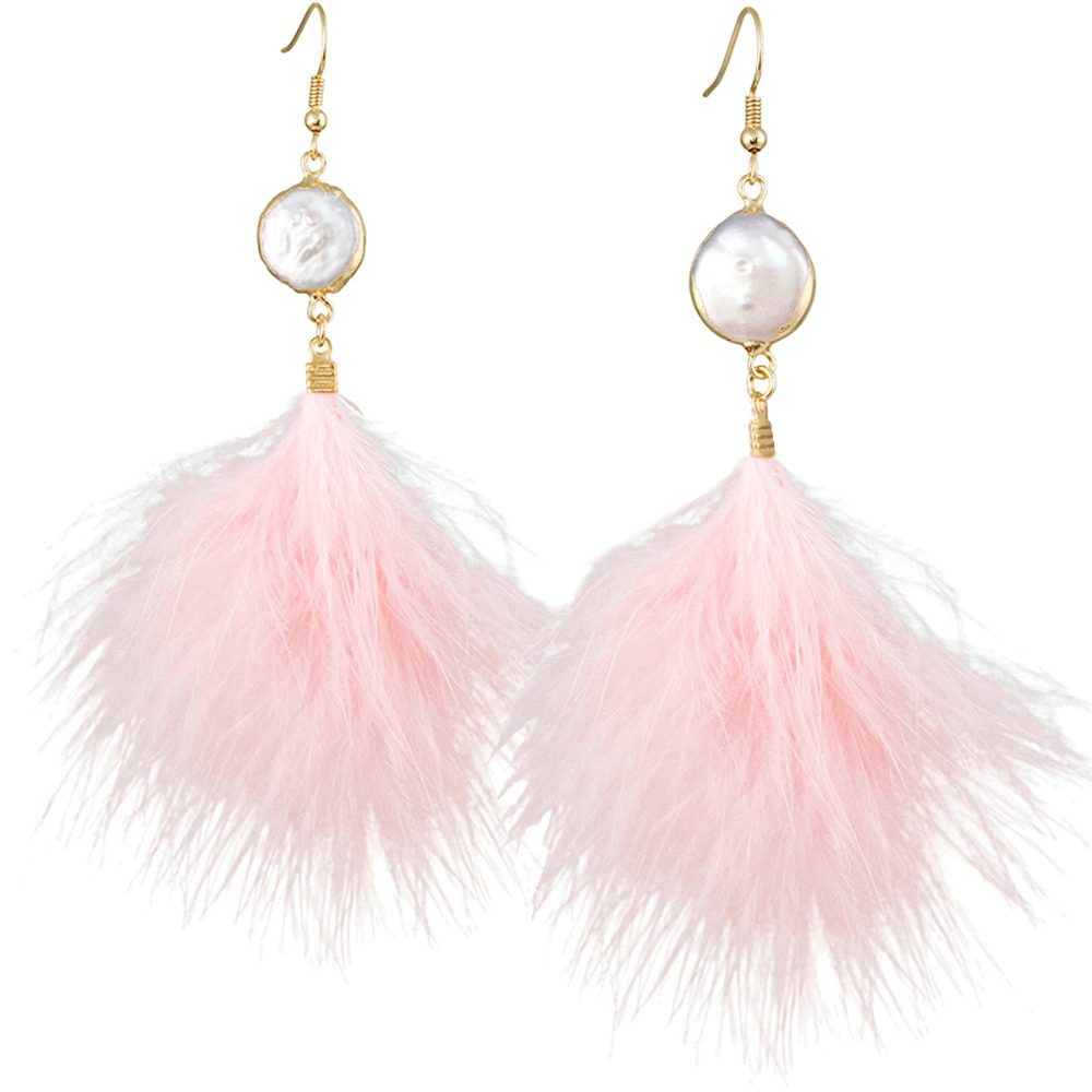 White Shell Pink Feather Drop Dangle