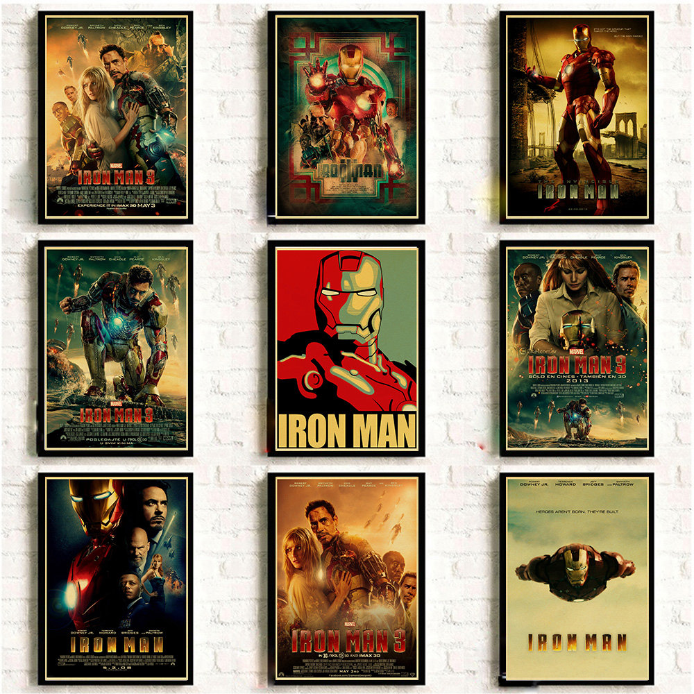 Avengers Iron Man Poster Marvel Comics Vintage Prints and Posters Cafe Bar Room Wall sticker Art Painting Home Decor