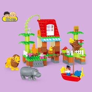 Image 3 - 3 セットデュプロビルディングブロックセットジャングル動物ブロック大型 Diy 啓発レンガ互換フィギュアおもちゃ