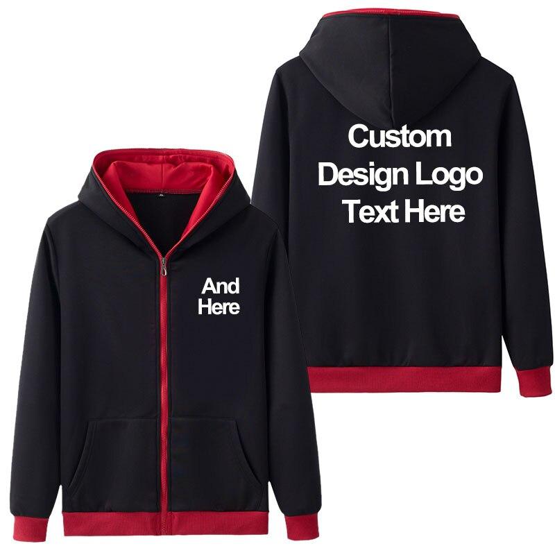 New Spring Autumn Men Casual Hoodies High Quality DIY Design Custom Printing Sweatshirt Fleece Coat Print Men's Jacket