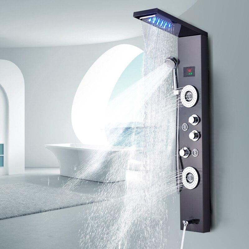 Nowo luksusowy czarny/szczotkowany prysznic kran do łazienki LED Panel prysznicowy kolumna armatura łazienkowa dotknij z ekranem temperatury rączka prysznica