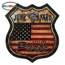 HotMeiNi 13cm x 12cm Car Styling Car Sticker Route 66 Decal Sticker Junk Yard Parts Rat Rod Waterproof Accessories Bumper цена и фото