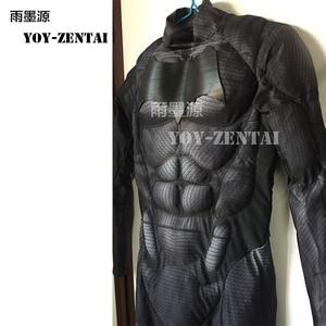 Image 3 - YOY ZENTAI عالية الجودة العضلات الحشو باتمان زي مع شعار جديد باتمان تأثيري حلي مع العضلات باتمان ارتداءها