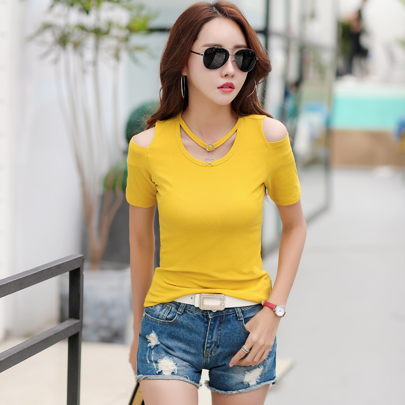gkfnmt Off Shoulder Tshirt Tops Summer Strapless T Shirt Women Fashion Short Sleeves Women Tops Elegant Slim Tee Shirt Femme