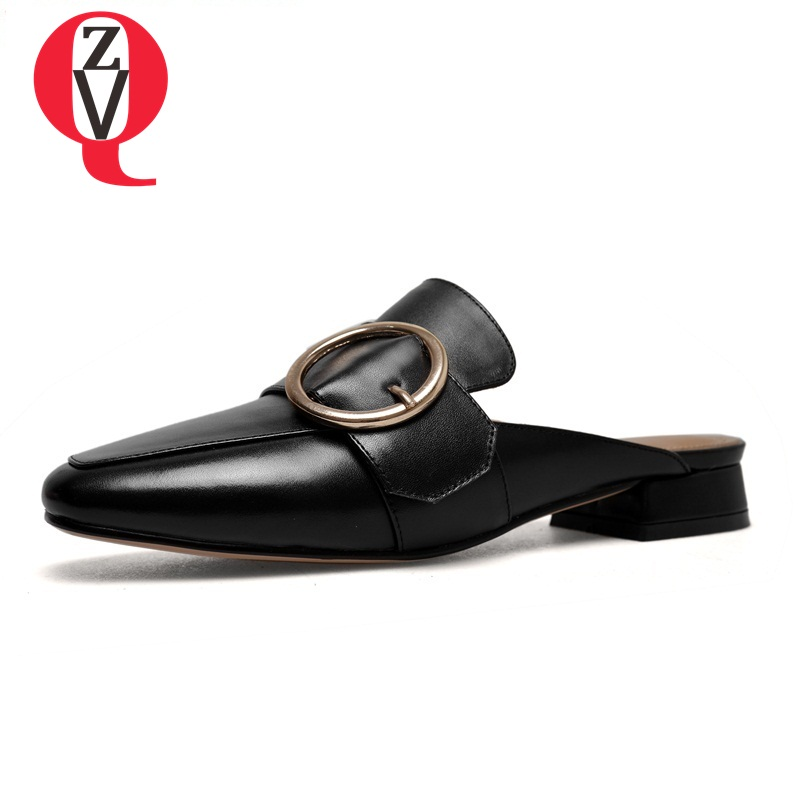 ZVQ new style cow leather low square heels metal decoration outside square toe fashion casual large size women mules