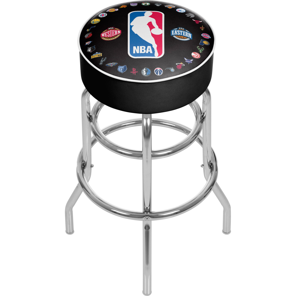 NBA Logo with All Teams Padded Swivel Bar Stool 30 Inches High фанатская атрибутика other nba exclusive collection logo