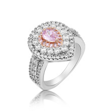 Lovely Heart Shape Women Fashion Ring 100% real Silver color Pink AAA Zircon Inlaid Jewelry Finger Rings for Wedding Engagement