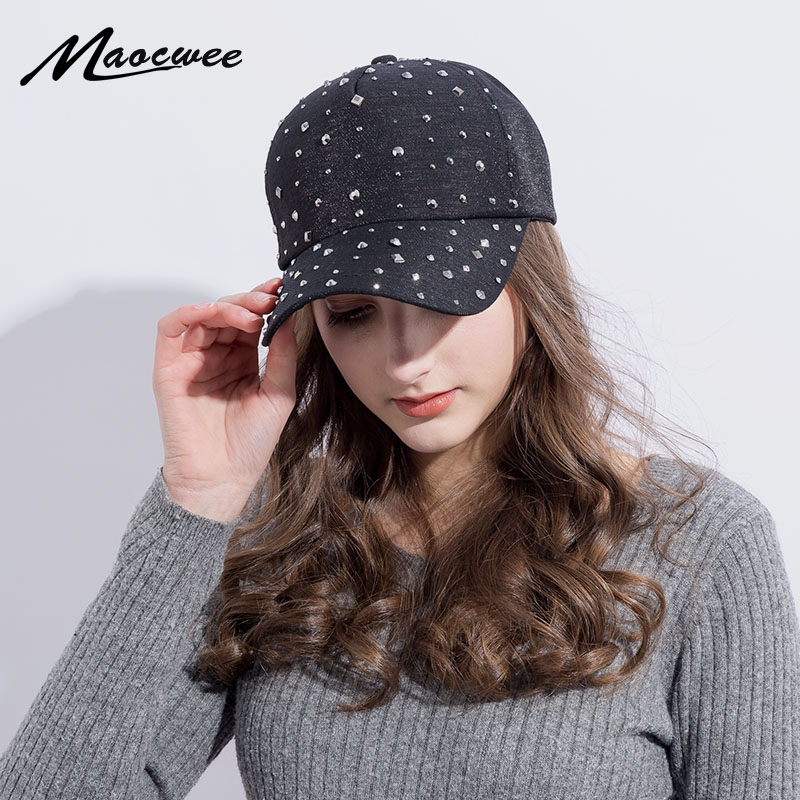 Fashion Women'S Rhinestone Hats Diamond Sun   Cap   Swag Casquette Snap Back Gorras Solid color Summer   Baseball     Caps   Dad Girl Bones