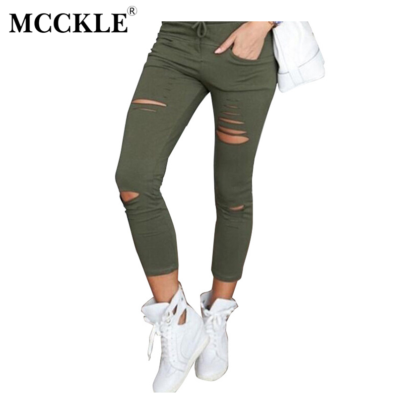 MCCKLE Women Ripped Knee Holes Skinny Jeans Female Stretch Slim Fit Pencil Pants Multicolor Casual Elastic Trousers FreeShipping