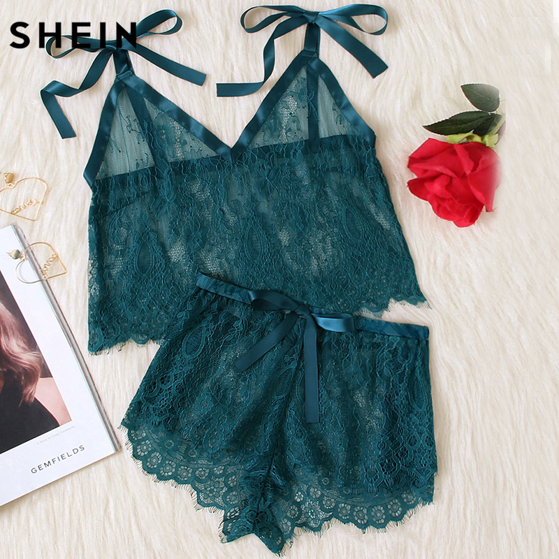 SHEIN Womens Pyjamas Sleepwear Green Spaghetti Strap Tie Shoulder V Neck Eyelash Lace Cami and Shorts   Pajama     Set
