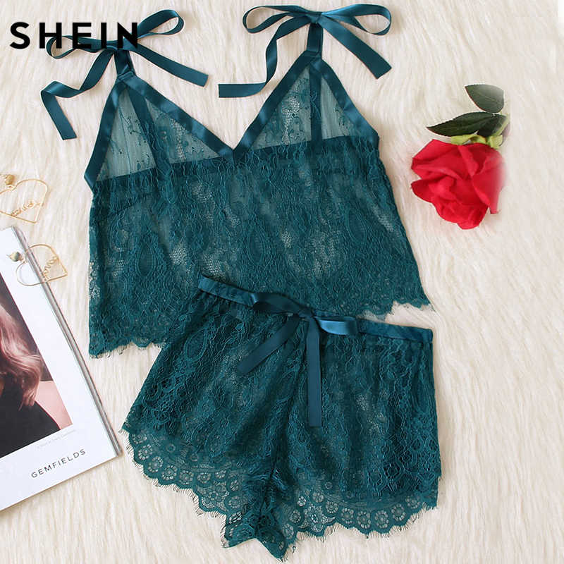 SHEIN Womens Pyjamas Sleepwear Green Spaghetti Strap Tie Shoulder V Neck  Eyelash Lace Cami and Shorts
