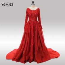 Saudi-Arabien Abendkleider 2018 Puffy Ballkleid mit langen Ärmeln Perlen bodenlangen roten Spitze Glitter Frauen formale Abendkleider