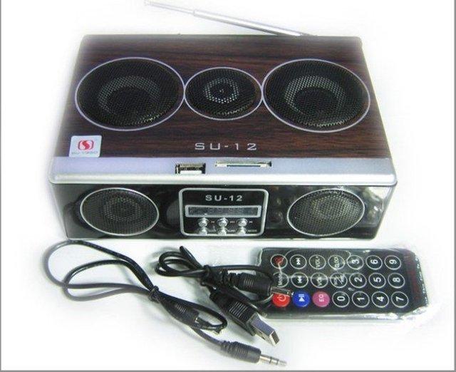 Wholesale 5pcs/lot Mini Sound box MP3 player Mobile Speaker boombox FM Radio SD Card reader USB SU12 DHL free shipping