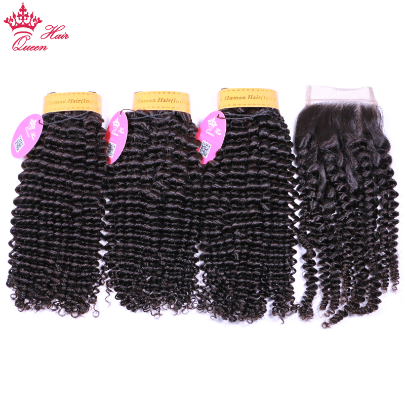 Queen Hair Extension 100% Human Hair Weave Bundles With Closure Indian 3 pcs Kinky Curly Remy Bundles With Lace Closure
