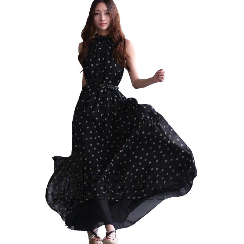 21b71780291a 2017 Fashion Women s polka dots Maxi dress long Casual Summer Beach Chiffon  Sashes Party Dresses style cheap vestidos de festa