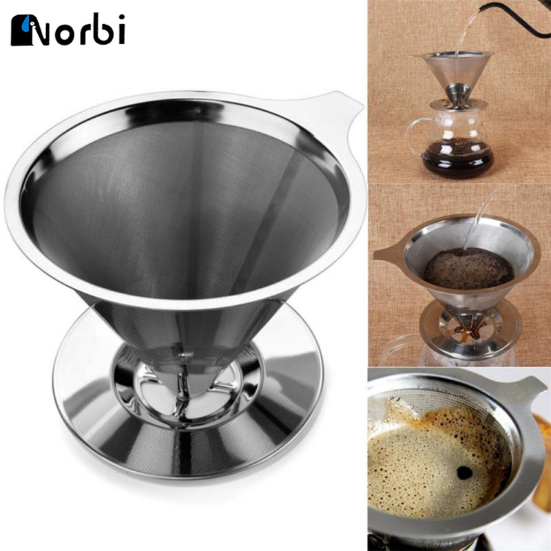 Cone Shaped Stainless Steel Coffee Dripper Double Layer Mesh Filter Basket Home Kitchen Tool Coffee Accessories New