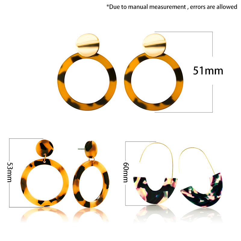 Acrylic Earrings Statement Korean Drop Earrings 2019 For Women Fashion Geometric Round Resin Leopard Earrings Jewelry Brincos