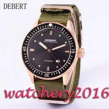 Luxury 43mm Debert black dial luminous hands date window sapphire glass miyota 821A Automatic movement men's Watch