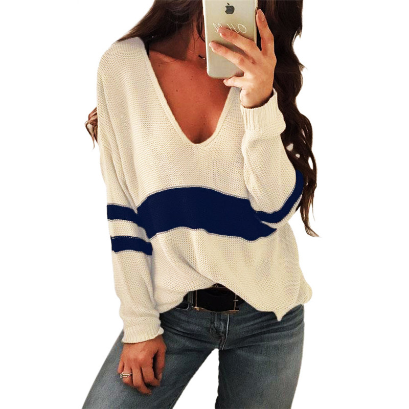 V neck Knitted Loose Sweater Women Striped Patchwork Jumpers Casual Autumn Winter Pullovers Tops in Pullovers from Women 39 s Clothing