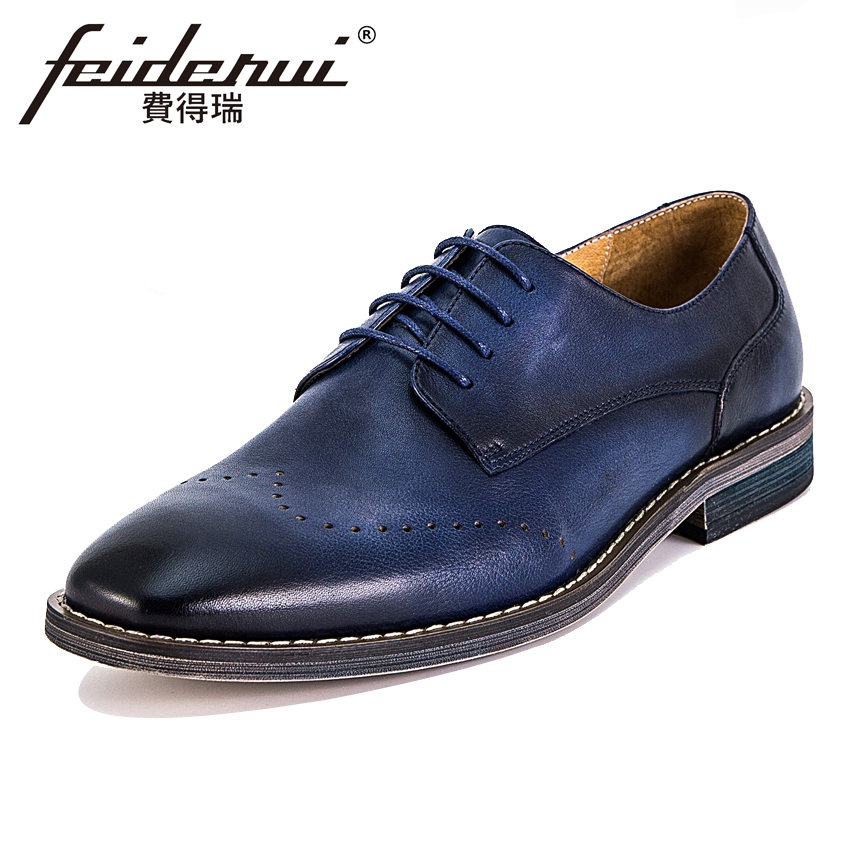 Luxury Genuine Leather Men's Handmade Footwear Round Toe Derby Man Party Flats Formal Dress Wedding Office Brogue Shoes KUD47 men luxury crocodile style genuine leather shoes casual business office wedding dress point toe handmade brogue footwear oxfords page 4 page 5 page 1