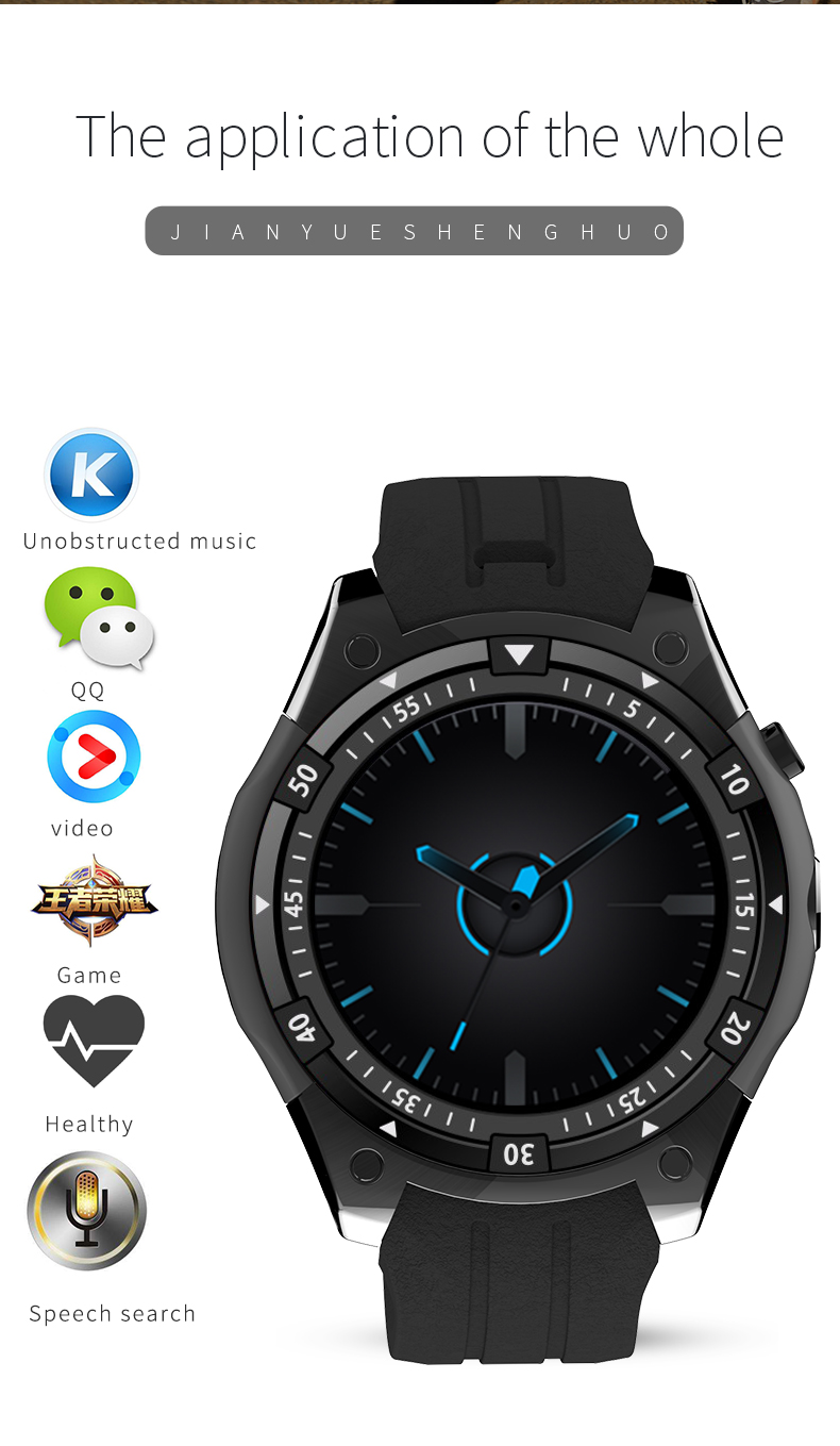 MTK6580 Heart Rate Blood Pressure Smart Watch with GPS WIFI SIM Card Call Camera Smartwatch for Watch Video Play Game Best Gift