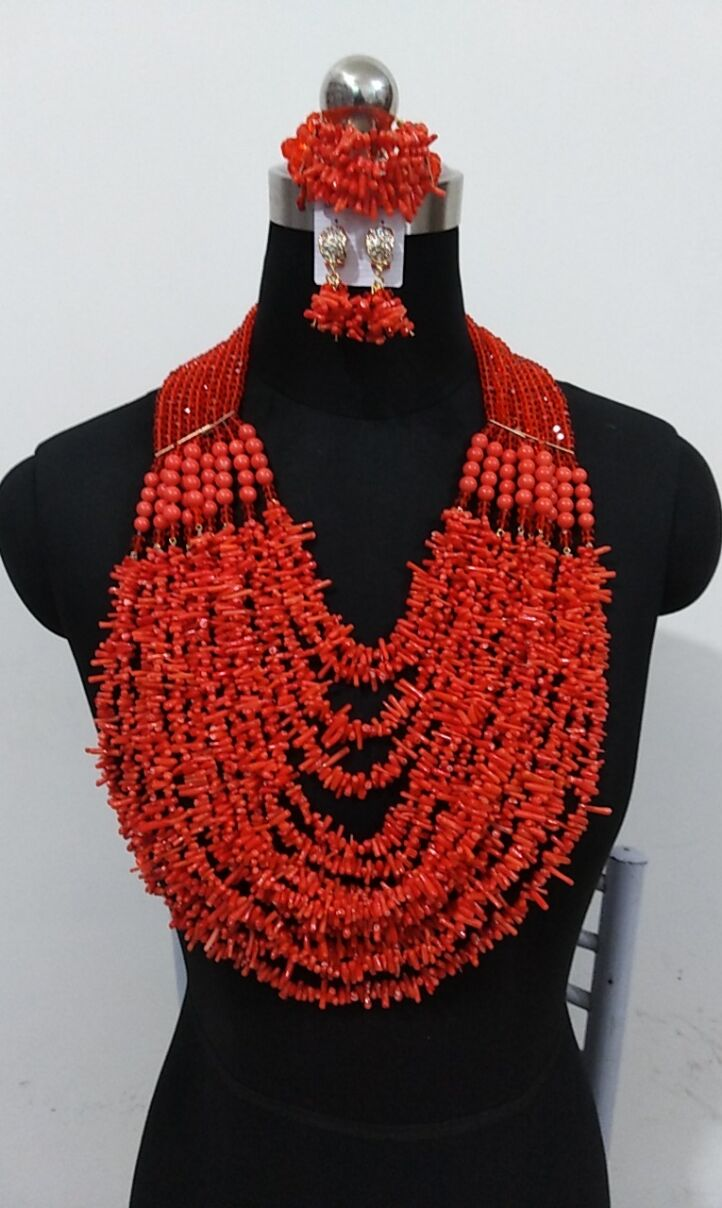 HTB1XHXnbtjvK1RjSspiq6AEqXXa1 Luxury Wedding Jewelry Sets African Beads Necklace Earring Sets for Women Orange Coral Nigerian Jewellery Set Free Shipping 2019