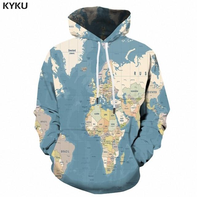 Kyku 3d World Map Hoodie Men Hip Hop Sweatshirt Vintage Print