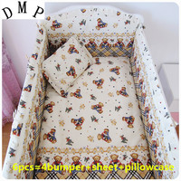 Promotion 6PCS Crib Baby Bumper Cot Bedding Sets Baby Fleece Include Bumpers Sheet Pillow Cover