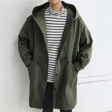 Hooded Men Trench Coat Big Pocket Spring Casual Loose 2019 Single Breasted Army Green A5293