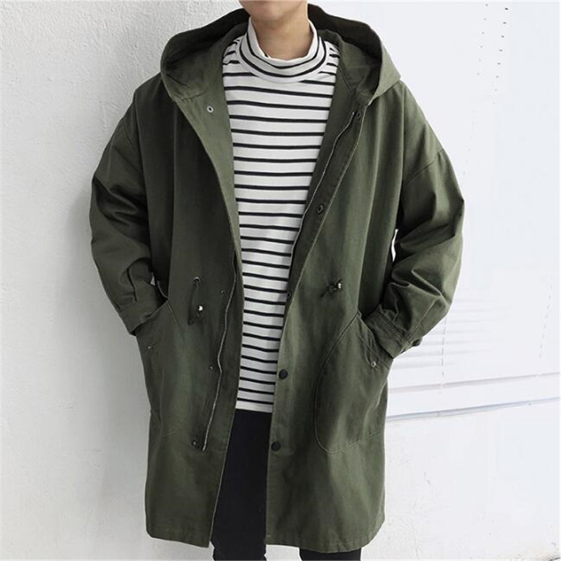 Hooded Men   Trench   Coat Big Pocket Men   Trench   Coat Spring Casual Loose   Trench   Coat Men 2019 Single Breasted Army Green A5293