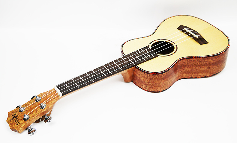 Guitare acoustique SevenAngel 23 pouces ukulélé épicéa acajou 4 cordes ukelele électrique avec micro EQ reliure celluloïd rouge - 5