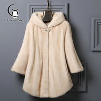 2019 New Luxury Winter Women Coats Nature Fur Full Pelt Real Top Fashion Knitted With Hood Women's Natural Coat Warm For Lady