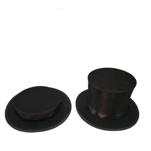 Schwarz Folding Top Hat-Magie Tricks Für Professionelle Magier, Bühne Magie Requisiten Magie Professionnelle Illusion Lustige Spielzeug