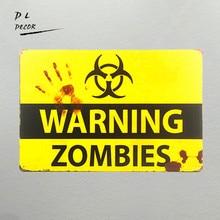 DL shabby chic Retro ZOMBIE WARNING METAL SIGNS garage font b wall b font font b