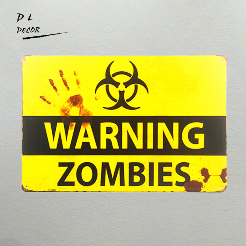 DL-shabby chic Retro ZOMBIE WARNING METAL SENS garaje etiqueta de la pared decoración para el hogar cartel exterior y grabados pub bar placa de pared