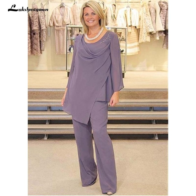 Alluring Pant Suits Chiffon Scoop Neckline Full-length Mother Of The Bride Dresses